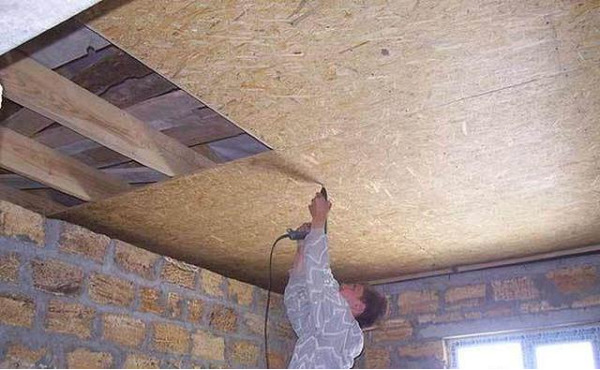 Потолок из осб плиты