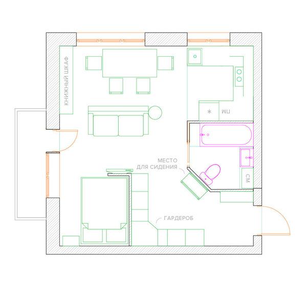 b51bc6f7249f3 Перепланировка однокомнатной квартиры в двухкомнатную – основные ...